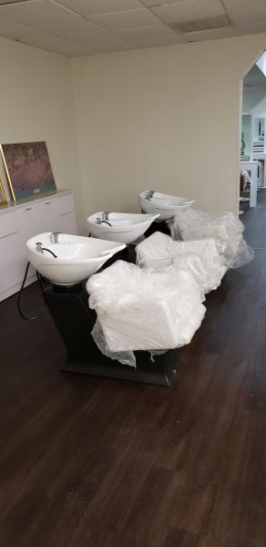 Salon chairs installed by Zeek