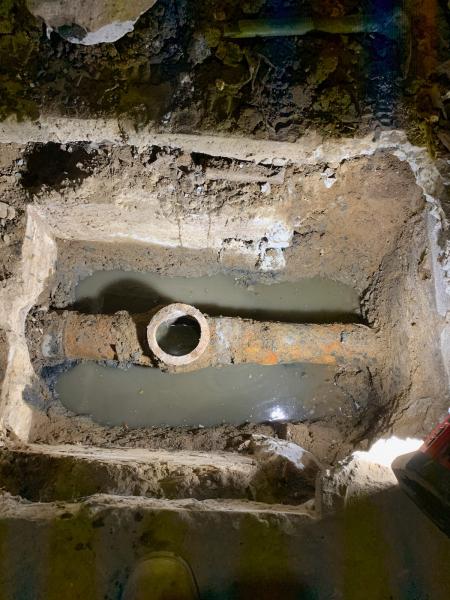 Sewer main repair (Before)