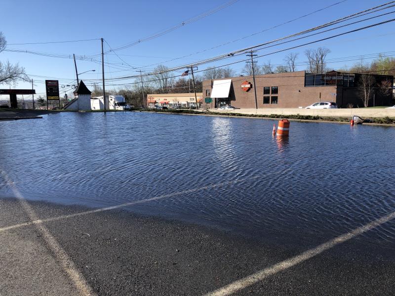 Water main break flood