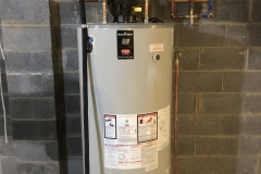 new 75 gallon power vent water heater with mixing valve for whirlpool tub