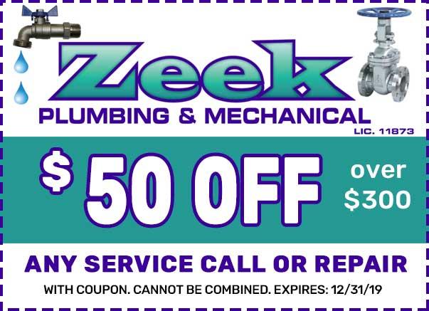 zeek plumbing service repair coupon NJ