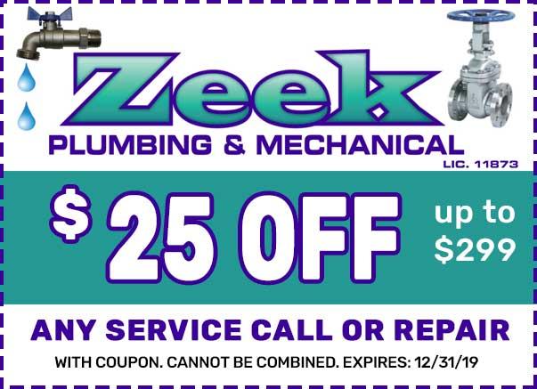 zeek plumbing coupon NJ