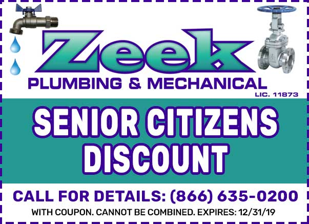 Zeek Plumbing New Jersey senior citizens discount