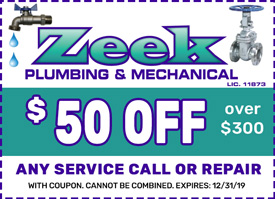 zeek plumbing service repair coupon NJ